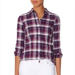 The Limited Purple and White Plaid Button Down